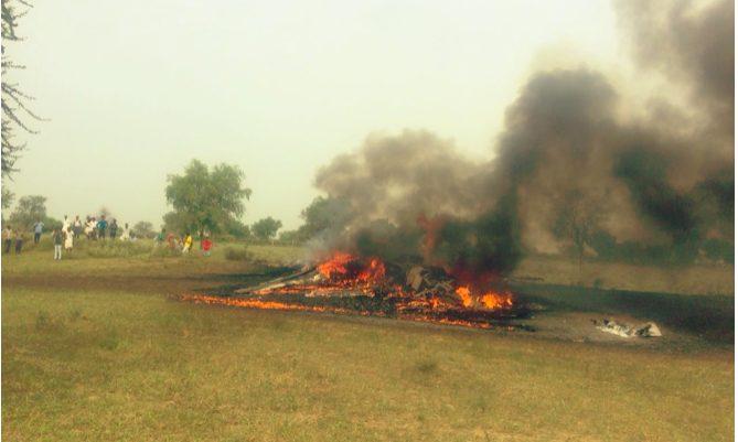 Another  MiG-27 fighter jet crashes in Devalia village Jodhpur