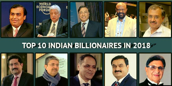 Indian Top 10  Billionaires in 2018