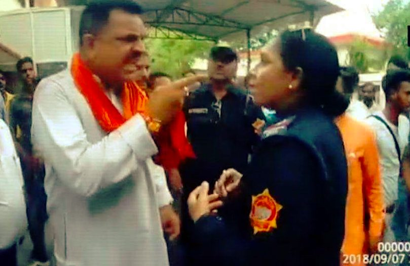 BJP MLA in Uttarakhand  threatening female  cop caught on camera
