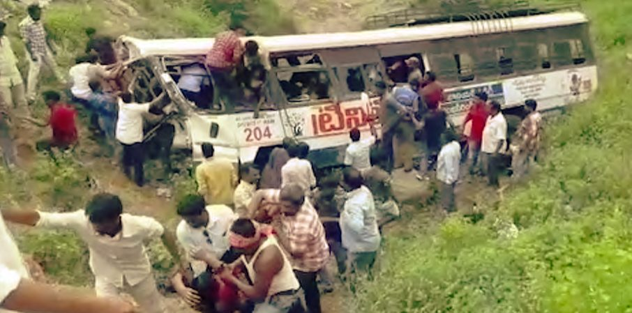 Bus  lost control in Jagital hills Telangana resulted  in 52 deaths