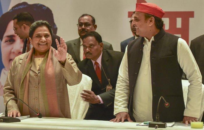 Akhilesh Mayavathi  announces alliance in UP butCongress not included