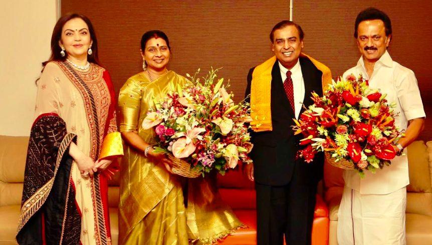 Ambanis flew Chennai  to  invite  Stalin family  to their son Akash wedding