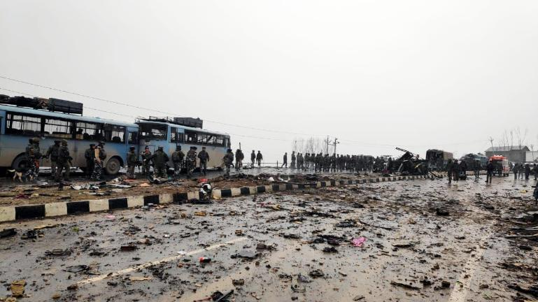 Fidayeen (suicide) attack on a paramilitary CRPF convoy in Kashmir rose to 49