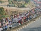 Refused  to meet Tens of Thousands of farmers who walked for 180Kms ,  Maharastra governor fly to Goa